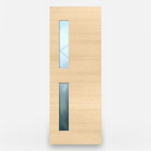 Green Leaf Bamboo Door - Flush 1 Panel Vertiacal Grain 2 Offset Windows