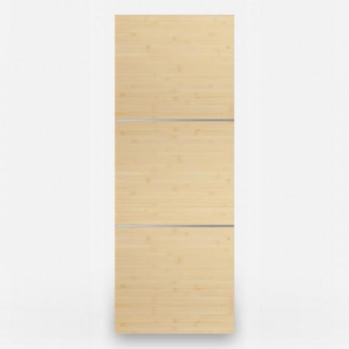 3 Panel Natural Bamboo Door - Stainless Inlays