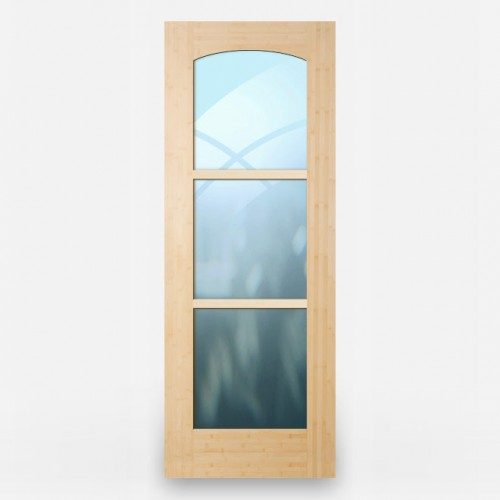 Green Leaf Bamboo Door - French 3 Panel Arched Horizontal Grain Natural
