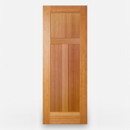 Green Leaf Bamboo Door - Stile and Rail 3 Panel Vertical Grain Amber