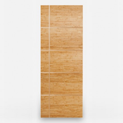 Green Leaf Bamboo Door - Flush Designer Olas with Brass Inlays