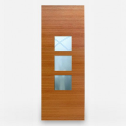 Green Leaf Bamboo Door - Flush 1 Panel Vertical Grain 2 Centered Windows
