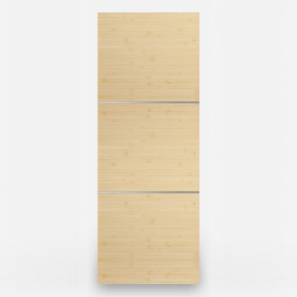 3 Panel Natural Bamboo Door - Stainless Inlays