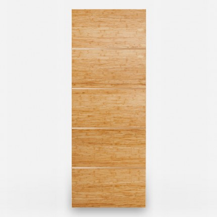 5 Panel Natural Woven Bamboo Door - Brass Inlays