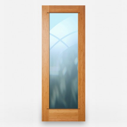 Green Leaf Bamboo Door - French 1 Panel Vertical Grain Amber