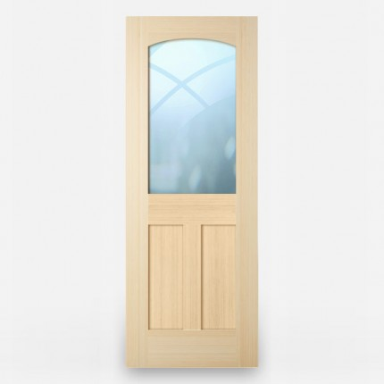 Green Leaf Bamboo Door - Stile and Rail 3 Panel T Mid Horizontal Grain Natural with Glass