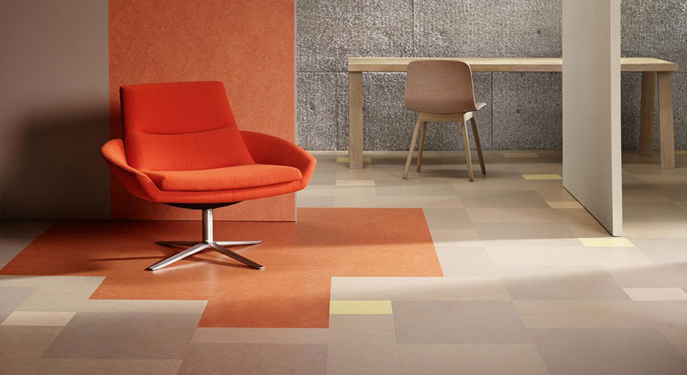 Marmoleum Modular Tile Orange Chair